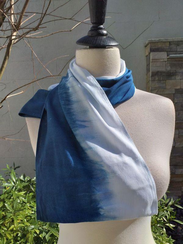 WEI865D Rayon Indigo Tie Dye Infinity Scarf