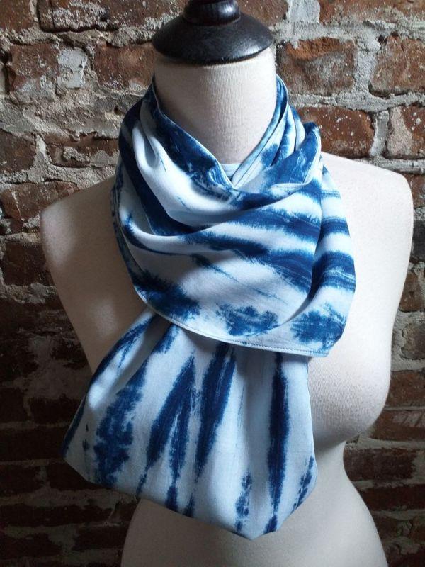 WEI867A Rayon Indigo Tie Dye Fringe Scarves