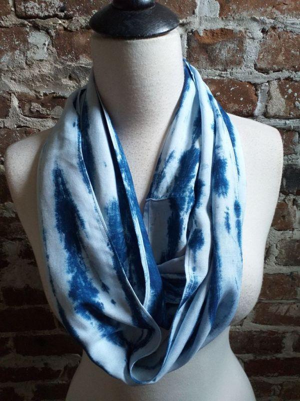 WEI867C Rayon Indigo Tie Dye Fringe Scarves
