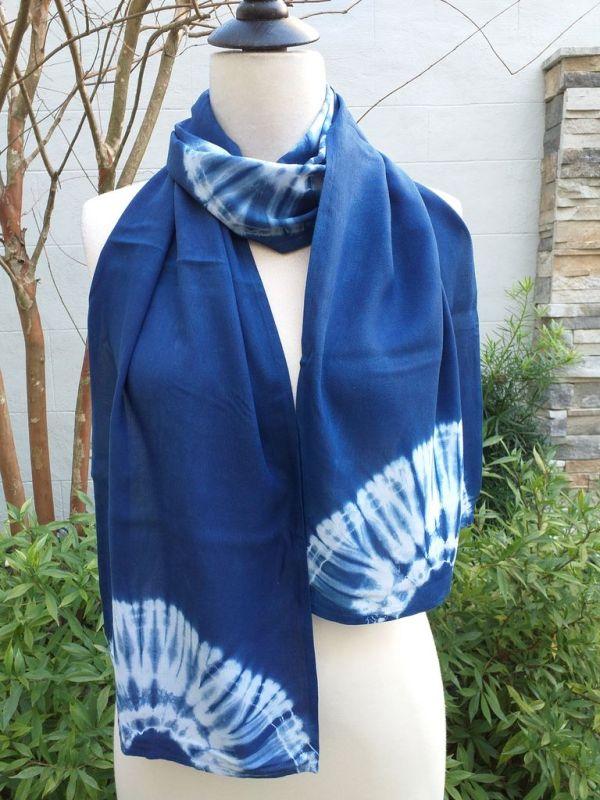WES793A Rayon Indigo Tie Dye Scarves
