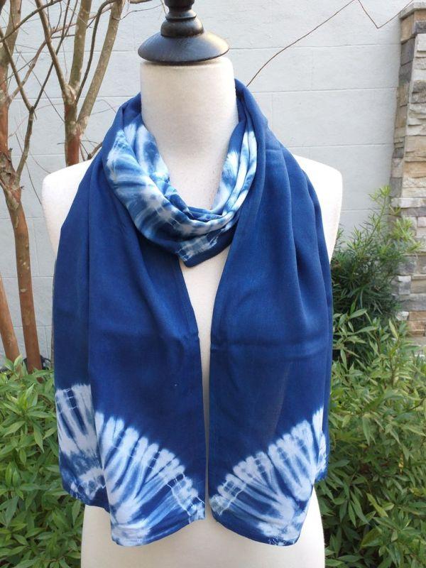 WES793B Rayon Indigo Tie Dye Scarves