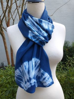 WES793D Rayon Indigo Tie Dye Scarves