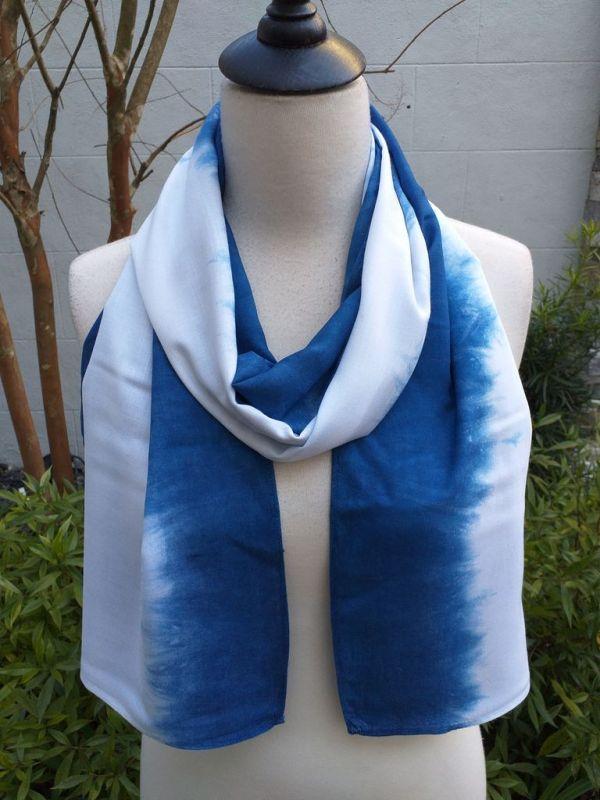WES826B Rayon Indigo Tie Dye Scarves