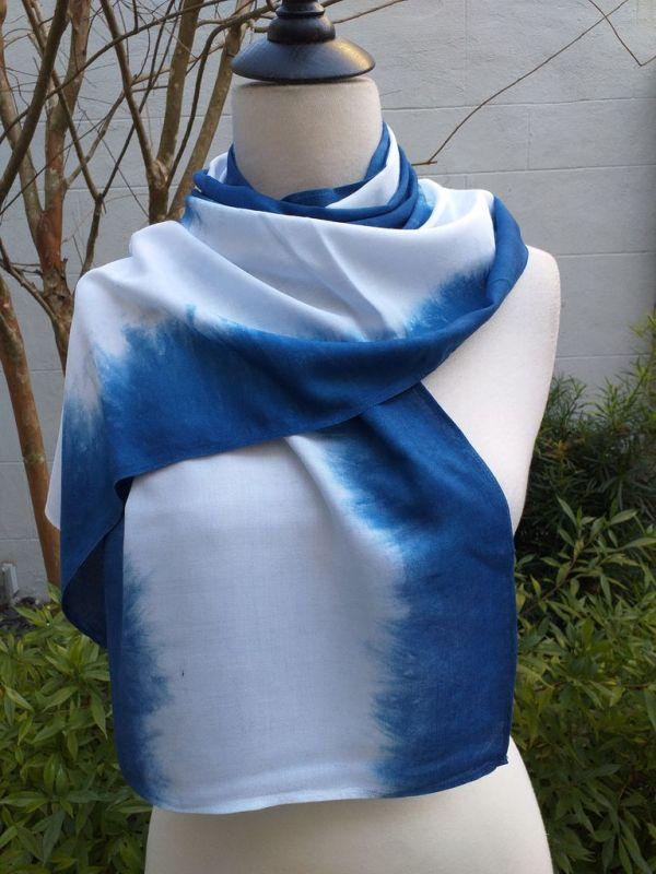 WES826C Rayon Indigo Tie Dye Scarves
