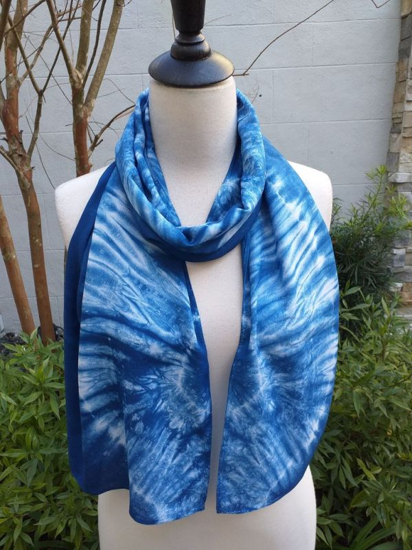 WES882B Rayon Indigo Tie Dye Scarves