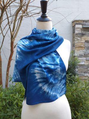 WES882C Rayon Indigo Tie Dye Scarves