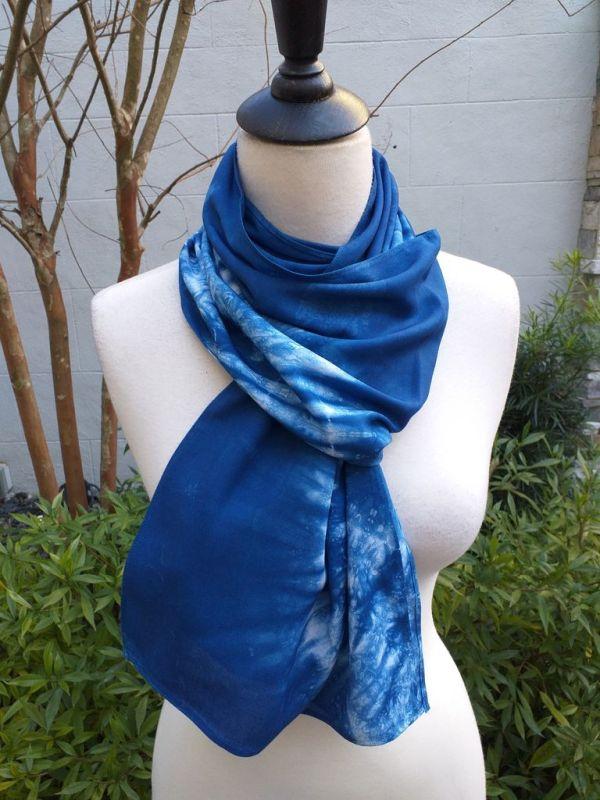 WES882D Rayon Indigo Tie Dye Scarves