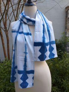 WES906A Rayon Indigo Tie Dye Scarves
