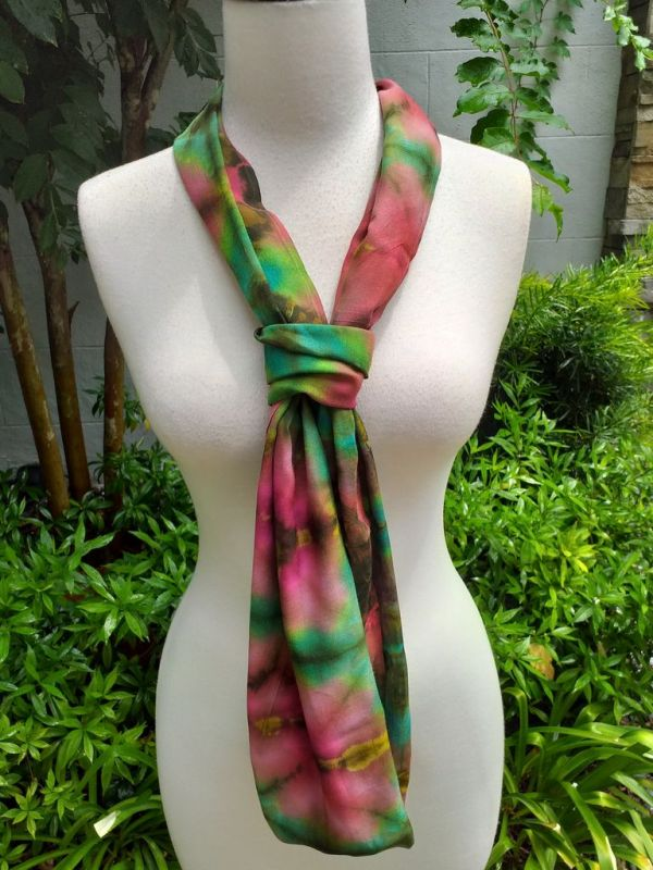 XDI962d Bright Color TieDye Rayon Infinity Scarf
