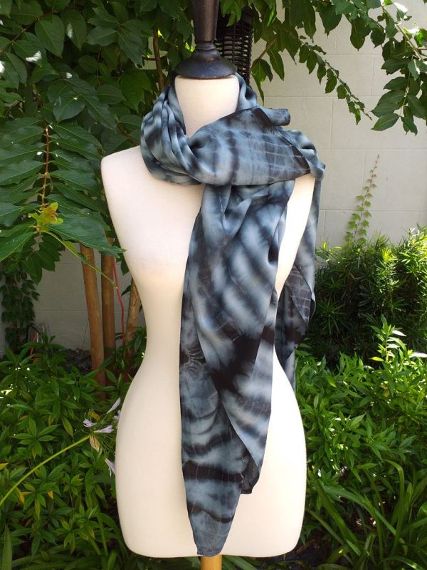 XEQ878A Rayon Scarf Hand Tie Dye Square Bright Color Hemmed Original