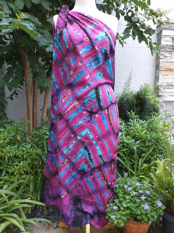 XEQ881E Rayon Scarf Hand Tie Dye Square Bright Color Hemmed Original