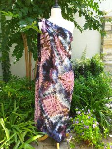 XEQ883E Rayon Scarf Hand Tie Dye Square Bright Color Unique Original