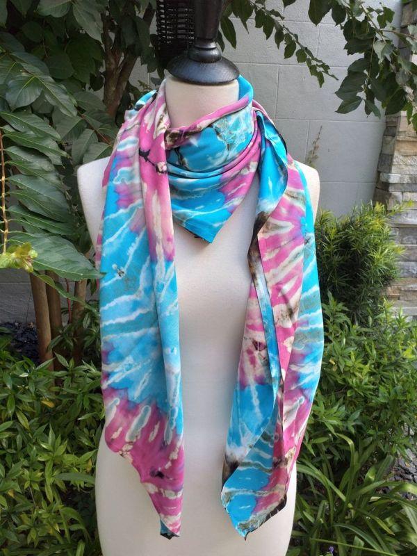 XEQ885B Rayon Scarf Hand Tie Dye Square Bright Color Unique Original