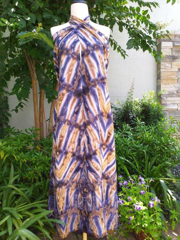 XEQ886E Rayon Scarf Hand Tie Dye Square Bright Hemmed Unique Original