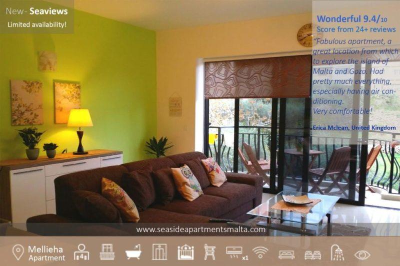 Mellieha Village Apartment Living Room