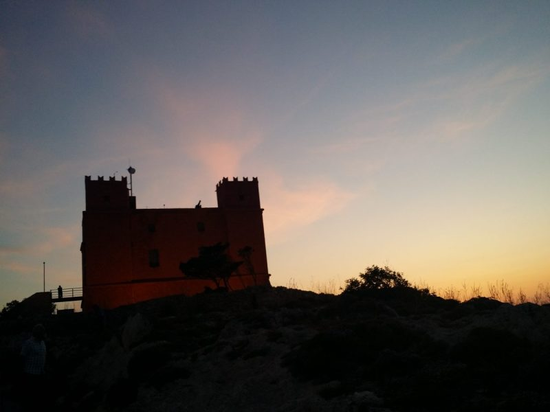 The Red Tower past Mellieha Bay over looking Gozo and Mellieha Bay