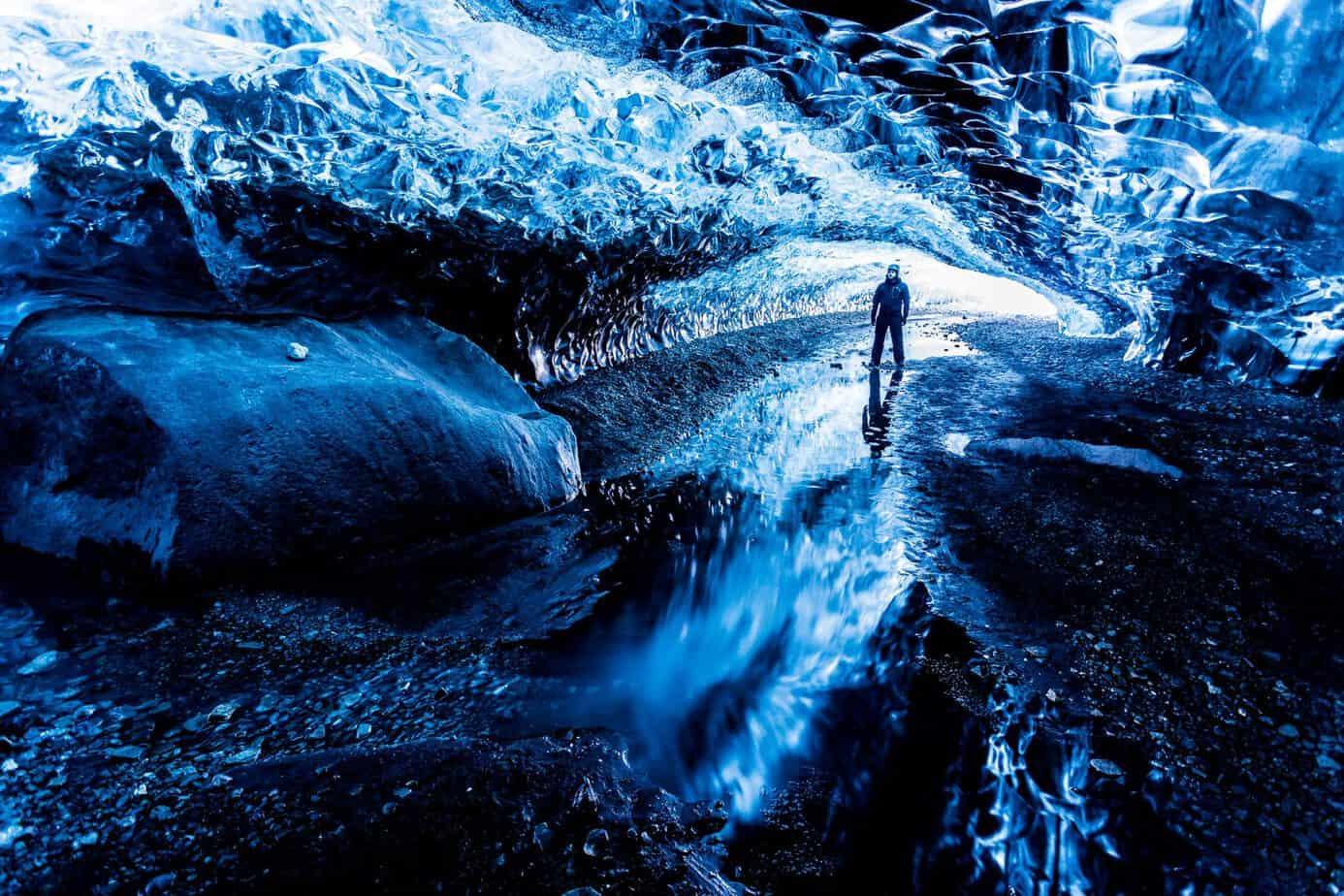 1. Platz: Eishöhle auf Island. Selfie von Jeroen Van Nieuwenhove (Afflingem, Belgien)