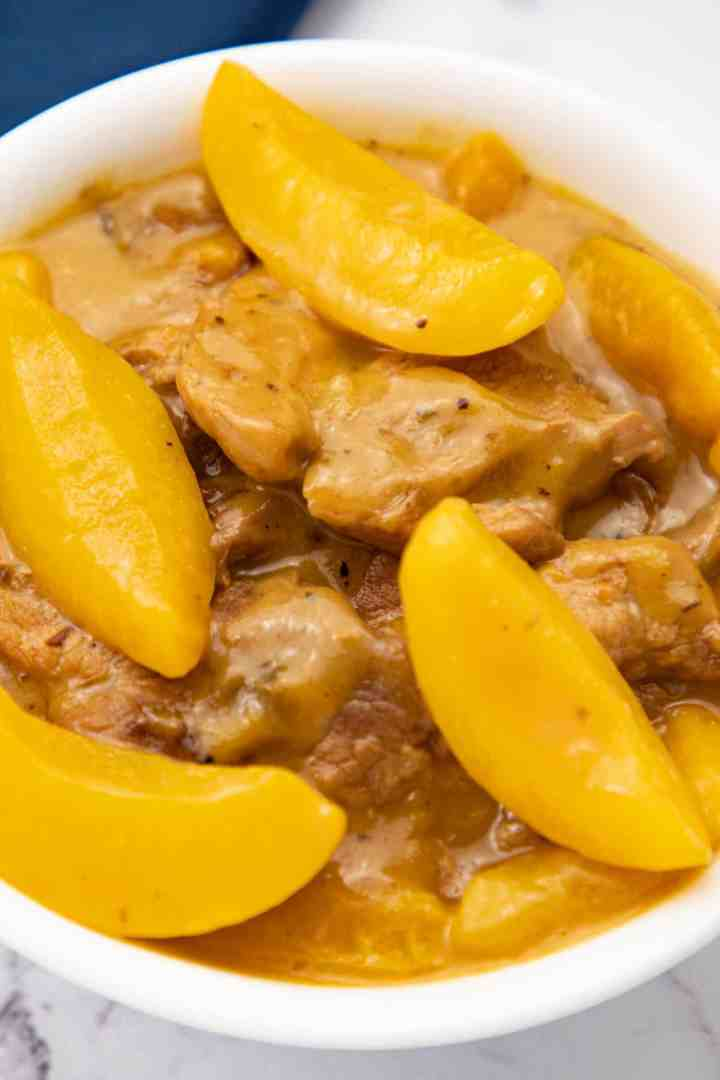 Creamy Peaches and Pork finished