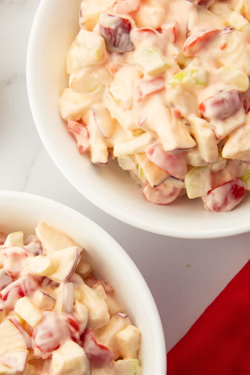 This Simple Apple Maraschino Salad has only four ingredients. It has a crunchy texture, slightly sweet, and creamy flavor. Salad or Dessert. via @seasiderecipes