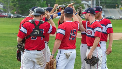 Thank you for a great season! Marblehead Seasiders post game group high five