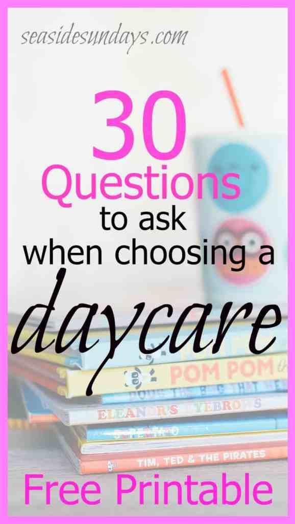30 questions parents should ask a home daycare provider via www.seasidesundays.com