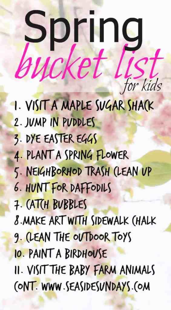 Spring bucket list for kids via www.seasidesundays.com