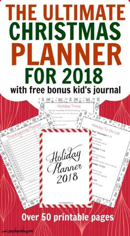 Christmas Planner 2018 Printable Holiday Planner 2018 - this Christmas planner is packed with tons of great pages for to-do lists and Christmas budget planning. Gte the free bonus children's Christmas journal too