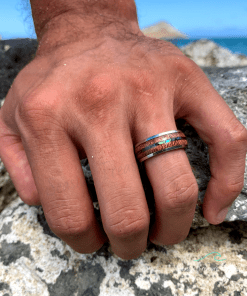 koa abalone rings tungsten rings