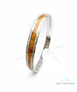 mother of pearl koa bangles