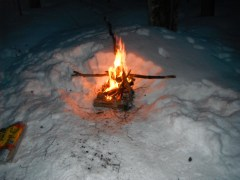 Winter camp fire at the cabin.