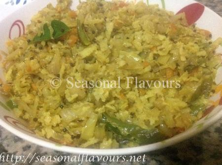 Kerala Cabbage Carrot Thoran Recipe