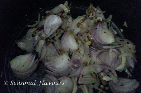Saute onions, ginger-garlic for Bengali yellow peas curry recipe
