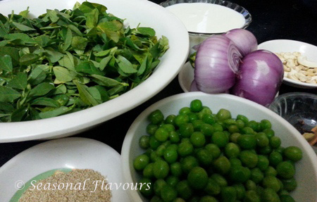 Fenugreek Leaves and Green Peas Curry Ingredients