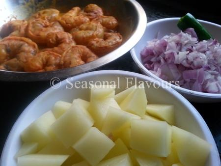 Ingredients for Prawns Potato Bengali Curry Recipe