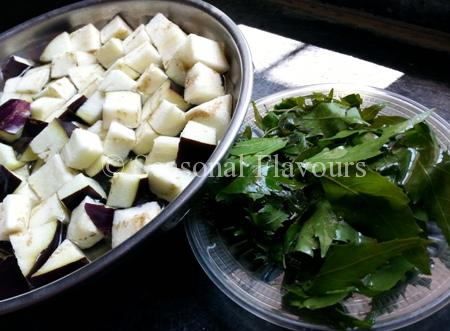 Neem Pata Fry with Eggpant Ingredients