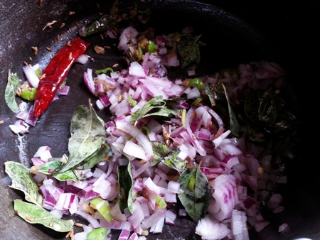 Saute onions for potato poha recipe