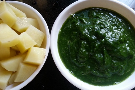 Ingredients for potato spinach curry