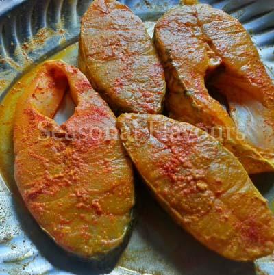 Marinate Fish for Andhra chepala vepudu recipe