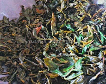 Gongura leaves saute for gongura chutney recipe