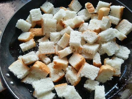 toast bread cubes for breakfast recipe with bread