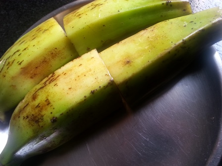 raw green plantains for vazhakkai fry recipe