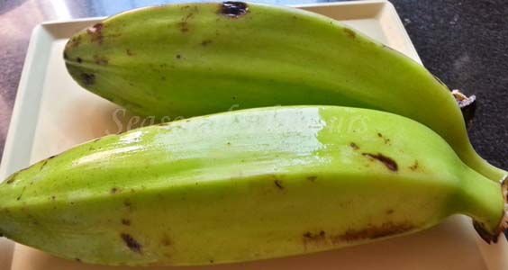 Raw plantains for Green Plantain Fry Recipe