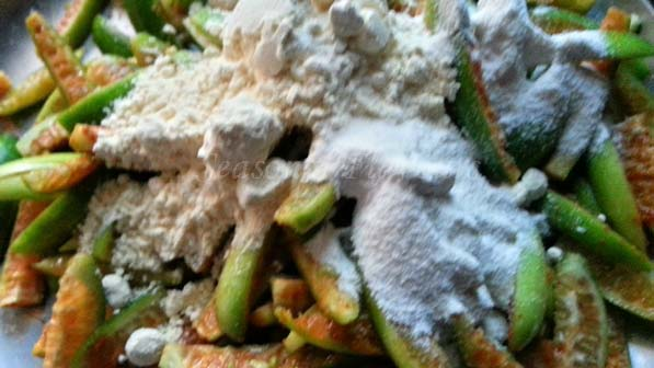 Add rice flour and besan for dondakaya recipe