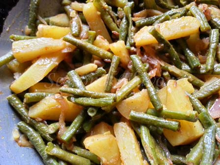 add potatoes for Chinese long beans recipe