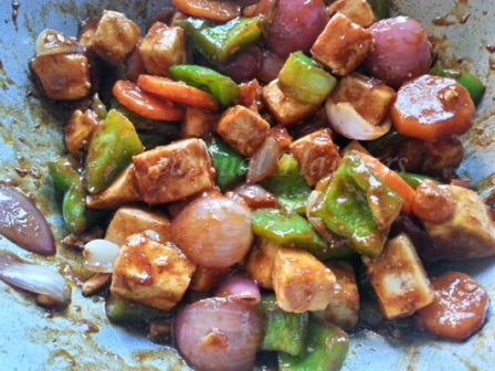 Paneer with vegetables Chinese style recipe