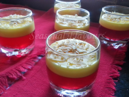 Layered jelly and custard recipe