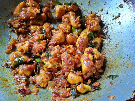 Add ginger garlic paste to the chicken for Andhra chicken recipe
