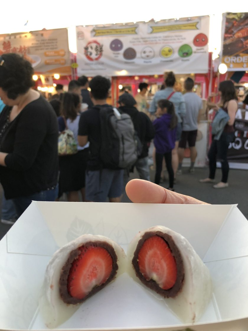 Original strawberry and red bean mochi from Asomi Mochi