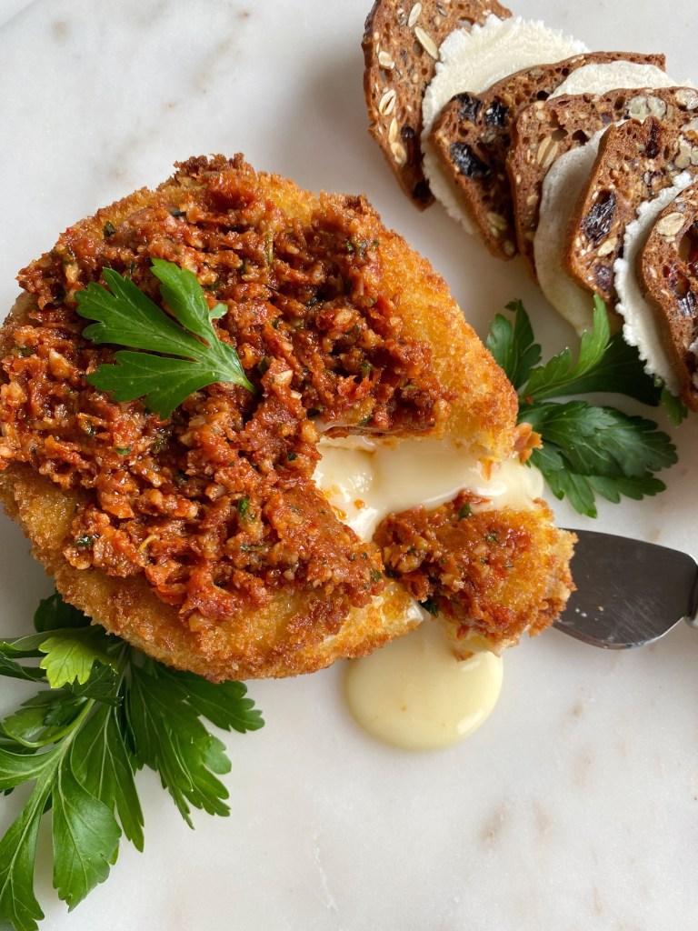 Fried Brie with Sundried Tomao Pesto - Season and Serve Blog