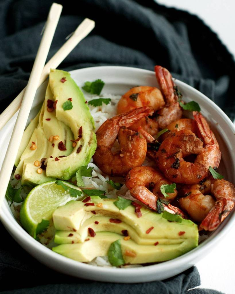 cilantro lime shrimp coconut rice bowl